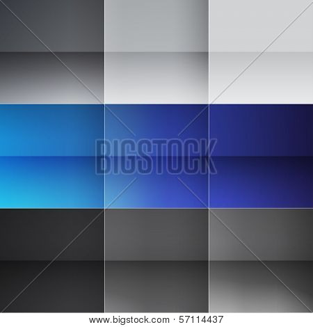 Gray and blue squares abstract background. RGB EPS 10 vector illustration poster