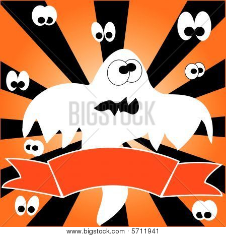 Frame with ghost and ribbon on striped background. Vector illustration. poster