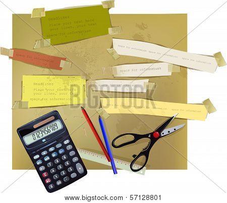 paper backgrounds, calculator, scissors and pensils
