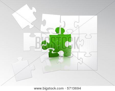 Puzzle pieces falling a part