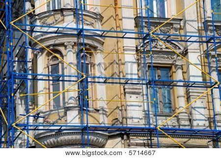 Extensive Scaffolding On A Aged Building In Downtown