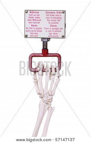 Skeleton Hand Pulls Emergency Brake