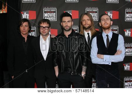 Maroon 5 at the 16th Annual Critics' Choice Movie Awards Arrivals, Hollywood Palladium, Hollywood, CA. 01-14-11
