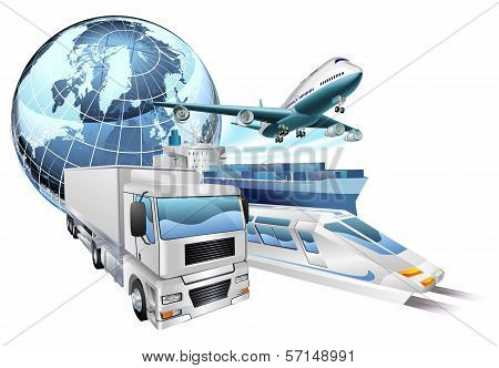poster of Dynamic logistics city business concept with delivery transport vehicles and globe