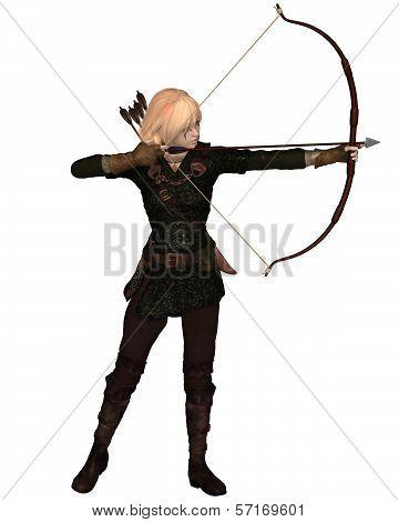 Blonde Female Archer Standing
