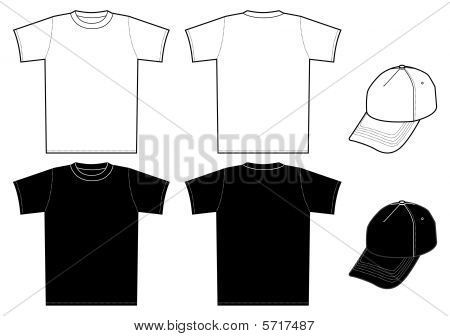 Outline Template Shirt And Cap On A White Background