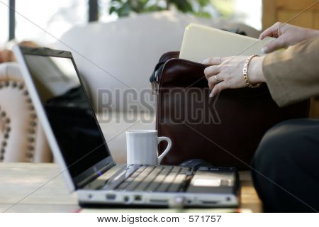 Businesswoman, Files, Briefcase, Laptop