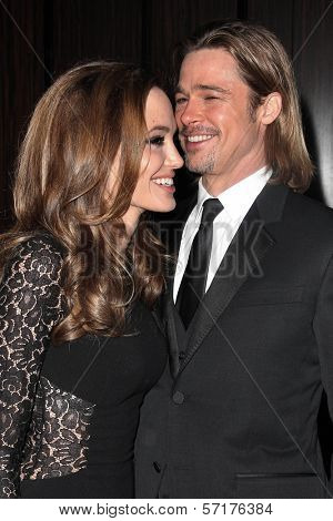 Angelina Jolie, Brad Pitt at the 23rd Annual Producers Guild Awards, Beverly Hilton, Beverly Hills, CA 01-21-12
