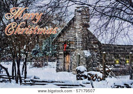 Snowy Winter Log Cabin Christmas Card