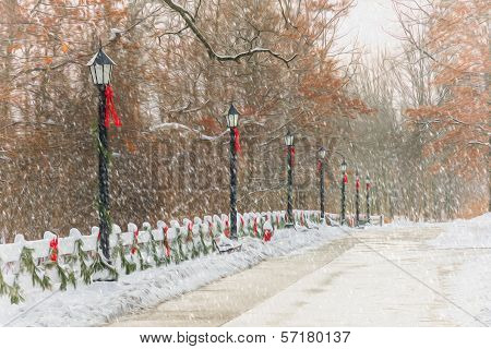 Old Style Street Lamps Christmas Painting