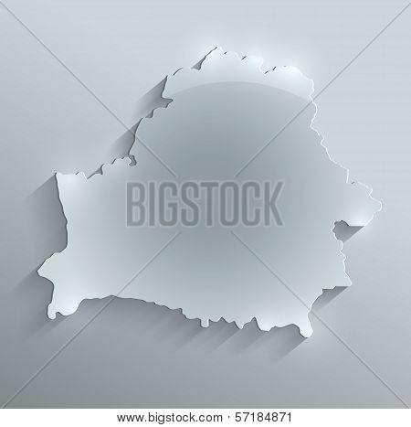 Belarus map glass card paper 3D raster blank