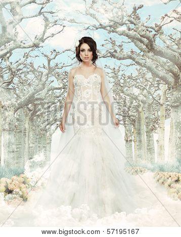 Art. Nostalgic Bride In Beautiful White Dress Standing In Fabulous Alley