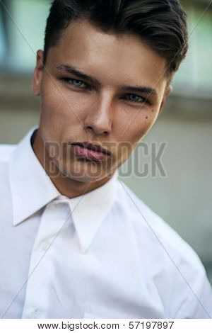 Confidence & Certitude. Respectable Strict Young Man - White Collar