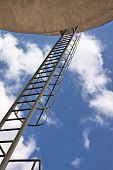 Abstract view of industrial architecture. Ladder to the heaven. poster