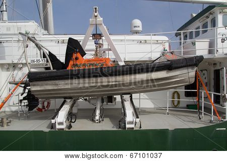 VALENCIA, SPAIN - JUNE 10, 2014: Greenpeace's small craft on the
