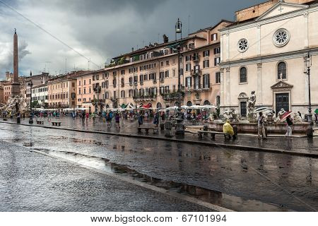 Rainy Day Navona Square