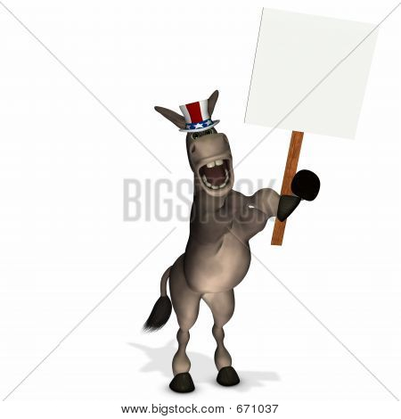 Political Donkey With Blank Sign