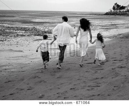 Family On Beach B  W