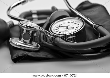 Close up Medical instruments stethoscope blood pressure