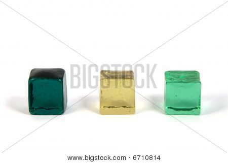 colored glass cubes isolated on a white background poster