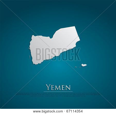 vector Yemen Map card paper on blue background, high detailed