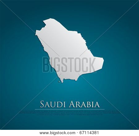 vector Saudi Arabia Map card paper on blue background, high detailed