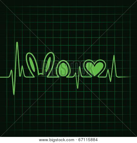 Heartbeat make easter symbol and heart stock vector