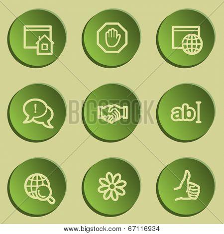 Internet  web icon set 1, green paper stickers set