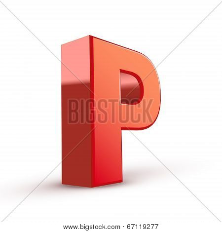 3D Red Letter P
