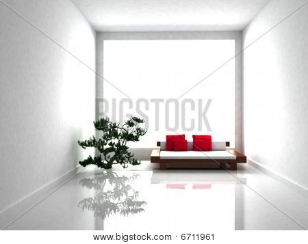 Mininimal white room interior with a big window poster