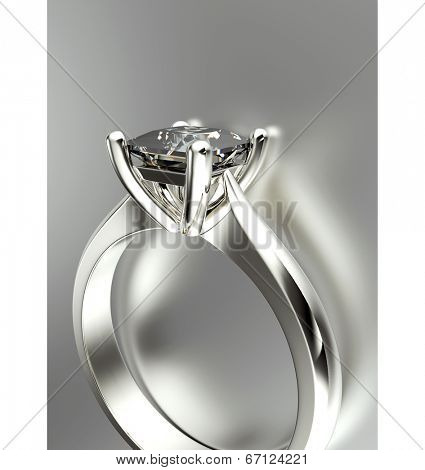 Golden Engagement Ring with Diamond or moissanite. Jewelry background poster