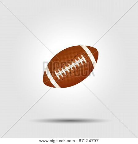 American football ball isolated on white with shadow