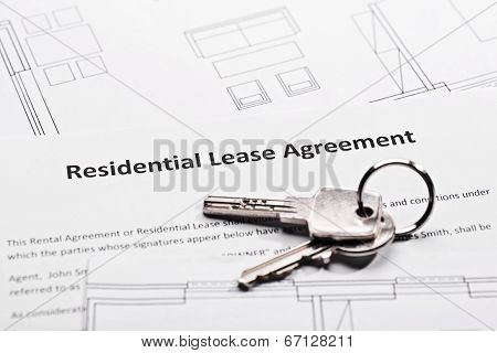 Residential lease agreement and a bunch of keys poster