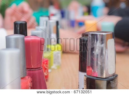 manicure bottles on the table