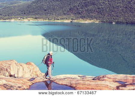 hike in Norway mountains,Svartisen Glacier poster
