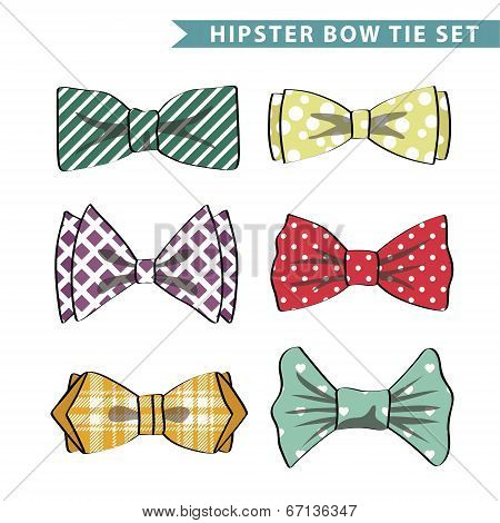 Several Colored  Bow Tie With Simple Pattern