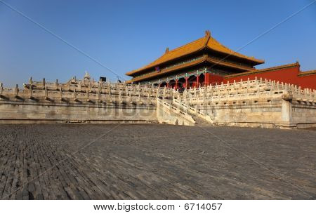 View from right hand side courtyard towards the Three Great Halls Palace. Forbidden City. Beijing. China. poster