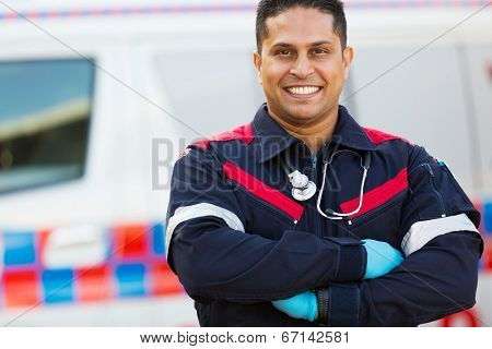 portrait of male paramedic with arms crossed poster