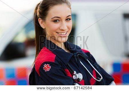 close up portrait of beautiful young female emergency medical technician