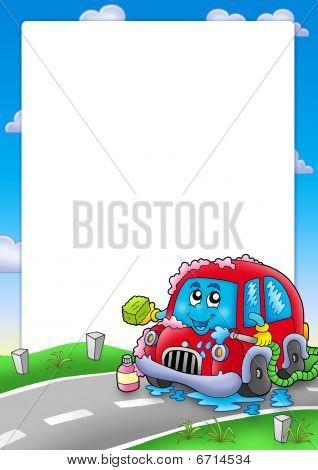 Frame With Cartoon Car Wash