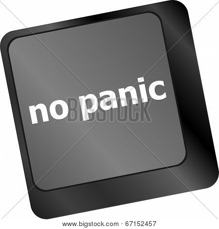 No panic key on computer keyboard - social concept poster