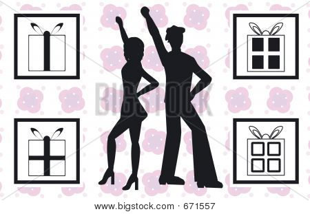 silhouettes of people dancing, with 4 present designs poster