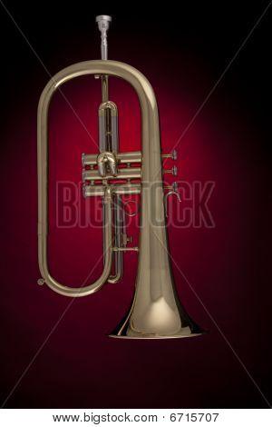 Flugelhorn Trumpet Isolated Against Red