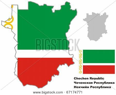 Outline Map Of Chechnya With Flag