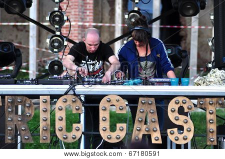 DJ Miss Cheeky mixing at Electric Castle