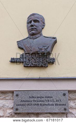 Memorial Plaque Of Johannes Orasmaa