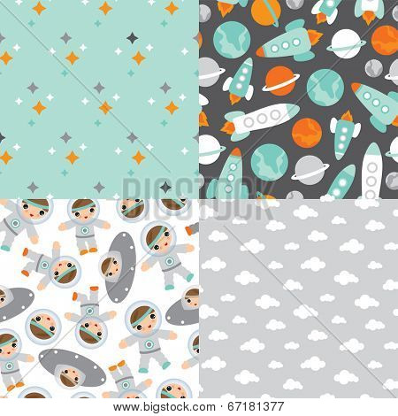 Seamless planet earth and space rocket illustration little astronaut background pattern in vector