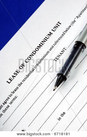 Lease of condominium unit isolated on blue
