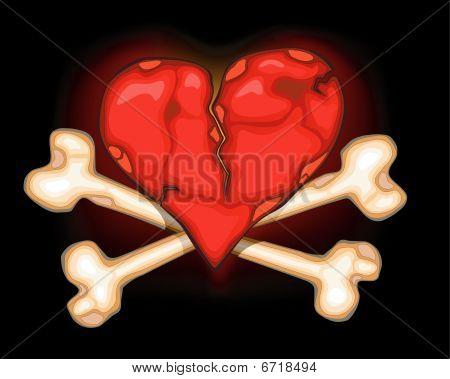 Heart & bones on black