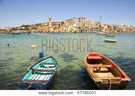Marsaskala Bay With Boats, Malta